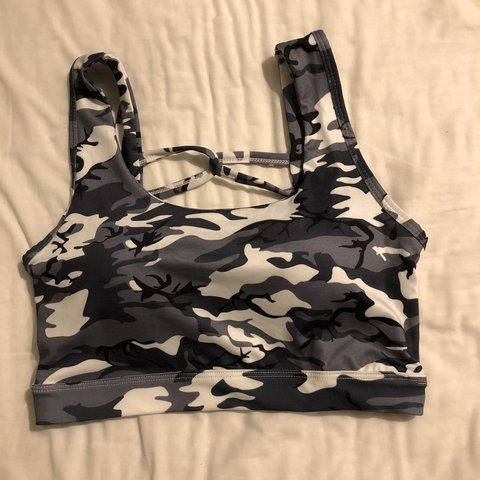 3720b60c78 Grey camouflage print sports bra. Brand new perfect Size M. - Depop