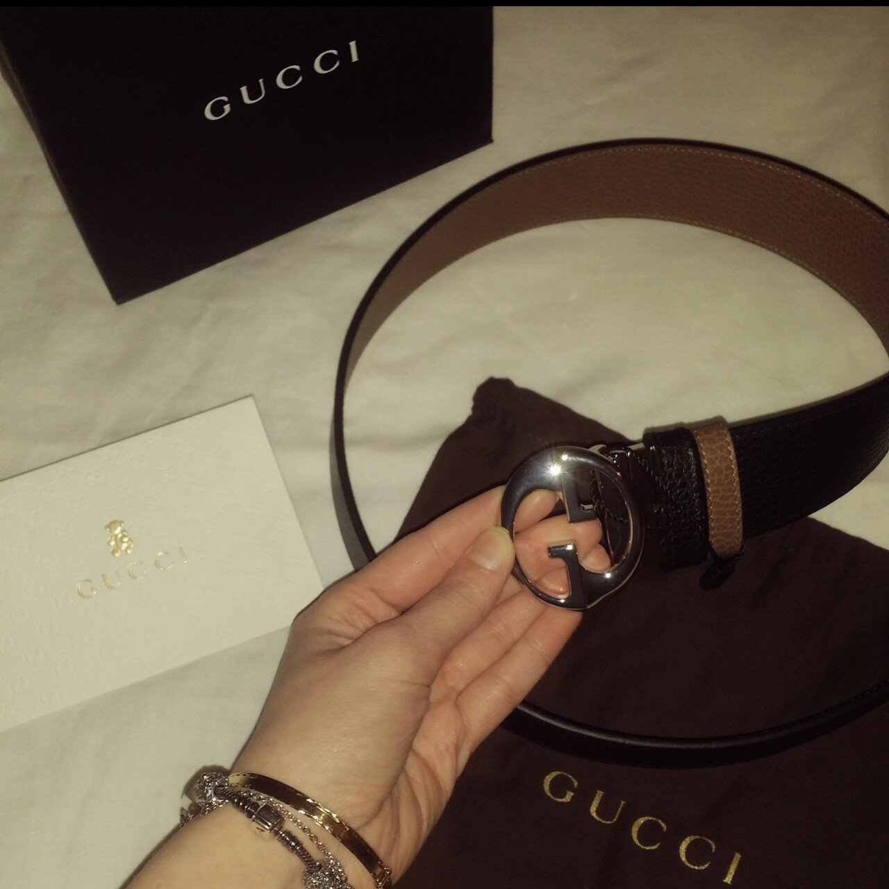 7d7aee9596c Gucci belt! Authentic and genuine. Will send receipt- taupe - Depop