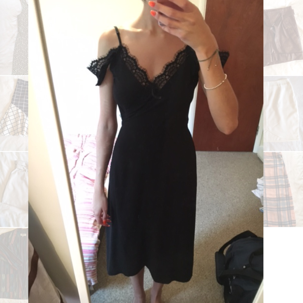 Black flowy wrap dress, bought of SilkFred, from the Depop