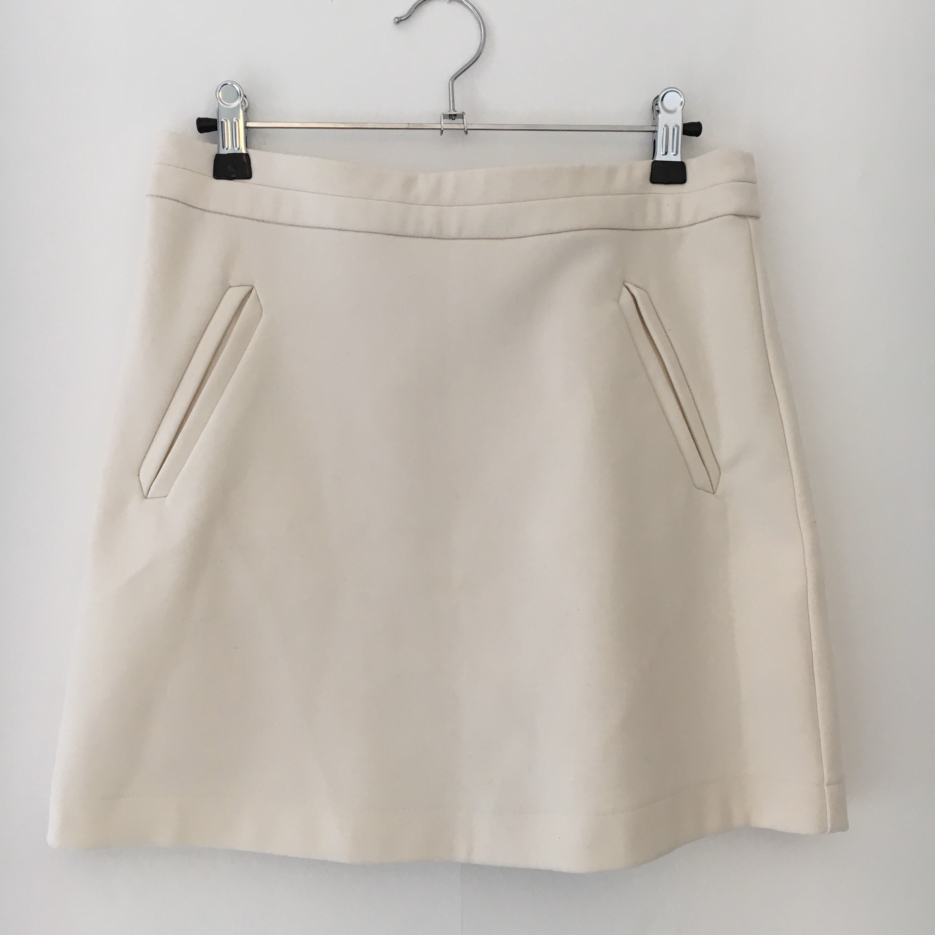 Cream, A Line skirt from New Look with zip Depop