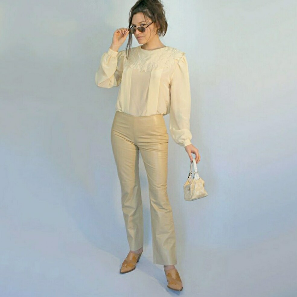 Beige leather theory pants