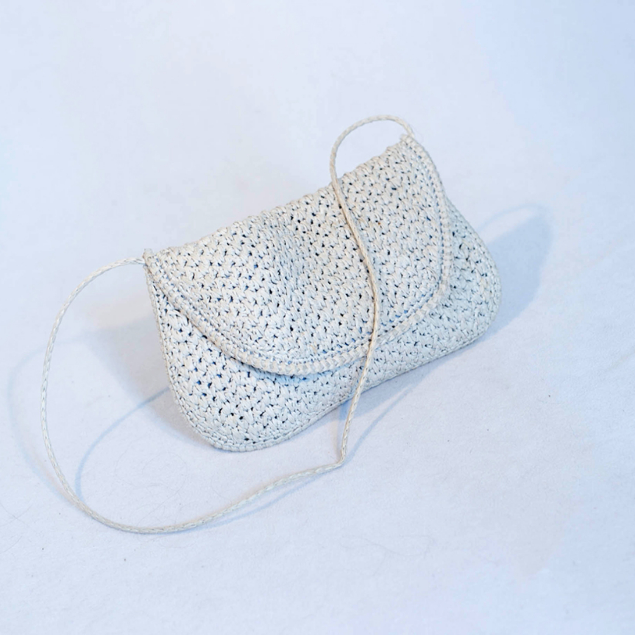 Beautiful white woven bag made in the Philippines. Fully