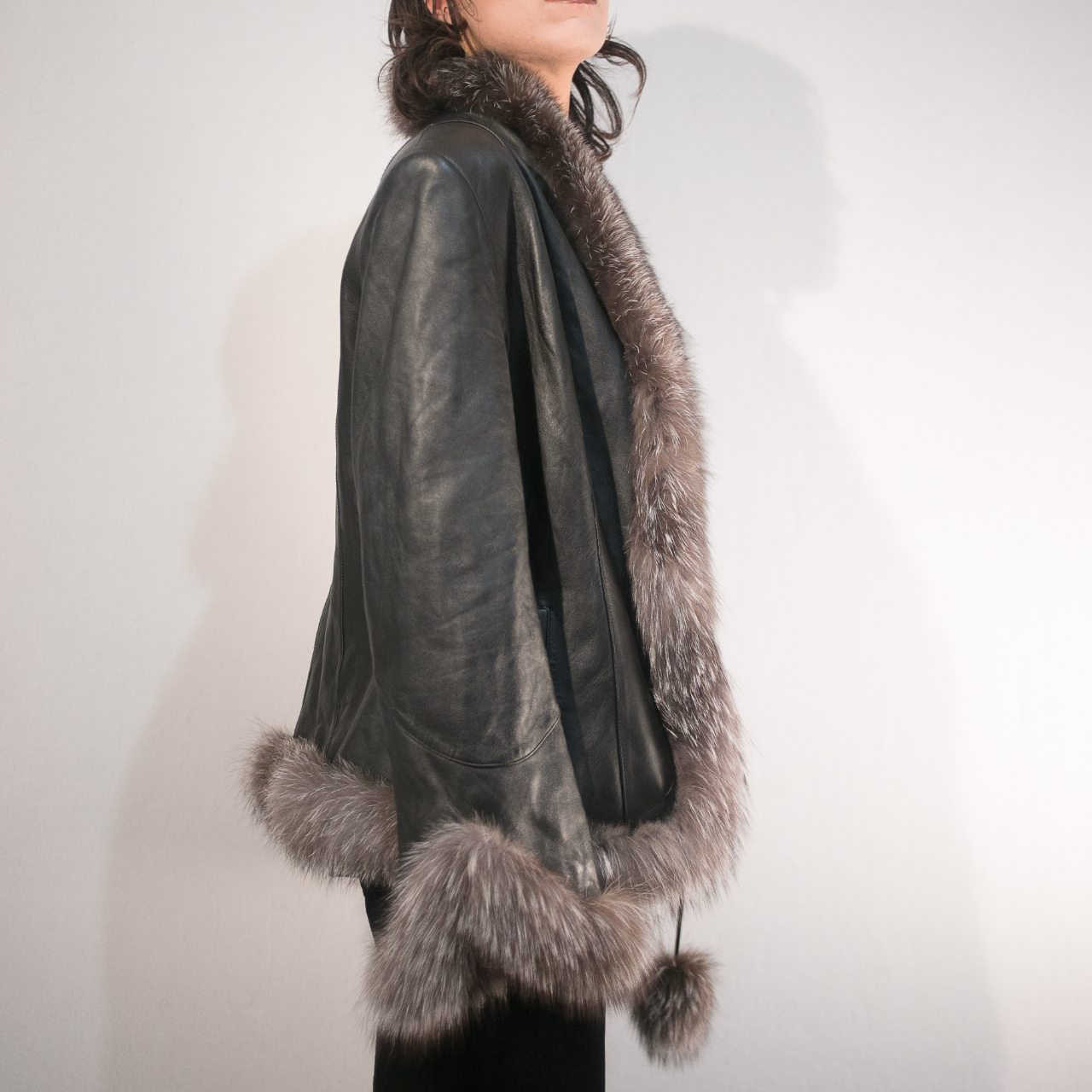 Genuine Leather and real fur trim coat