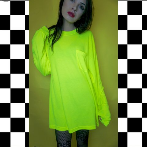 a4b7cde3eb DICKIES NEON YELLOW T SHIRT (or tee shirt dress)! This is a - Depop