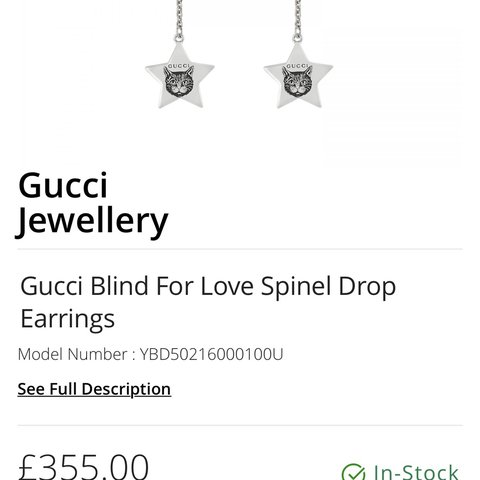 816bbafdd8f Gucci blind for love drop earrings never been worn