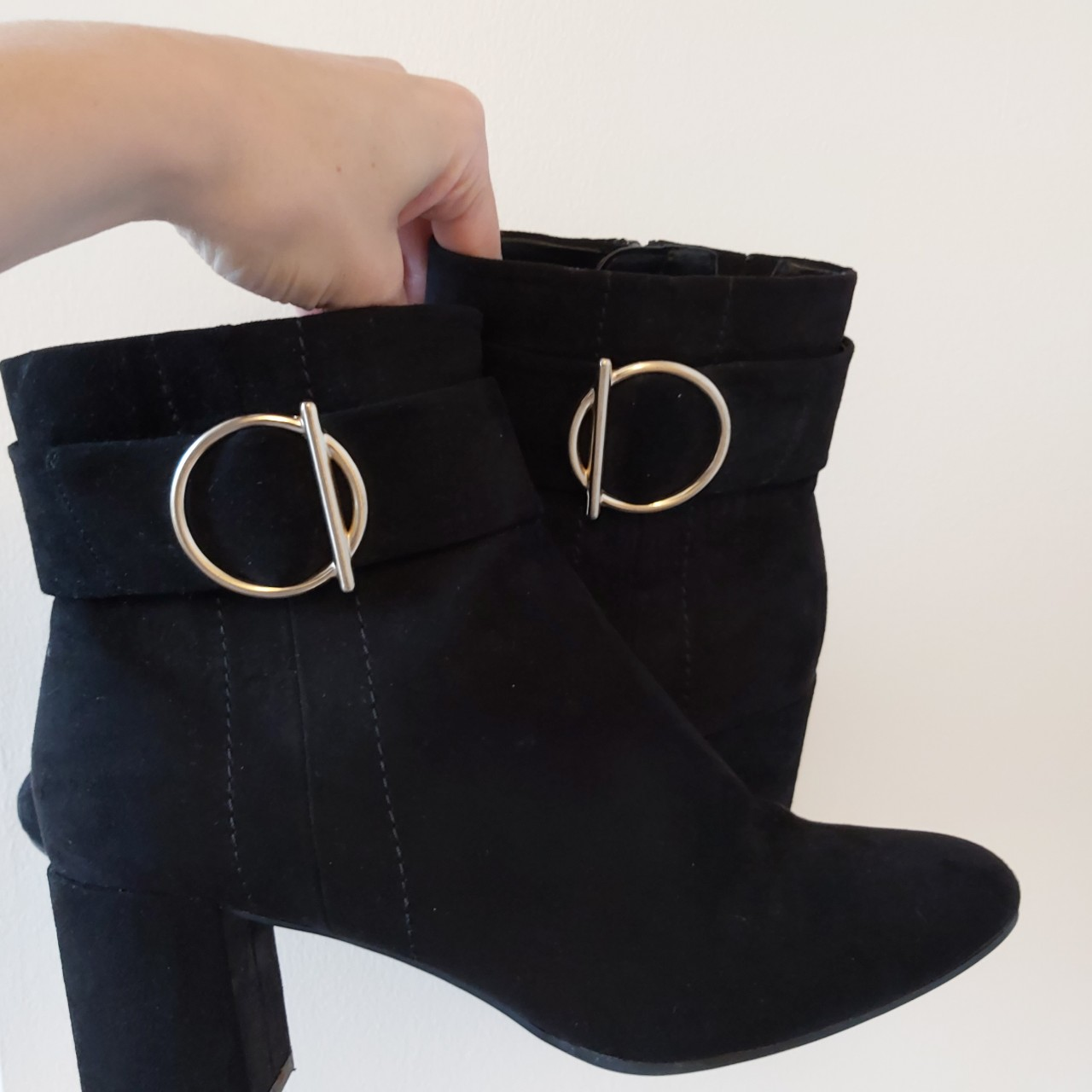 M and S black Suede heeled boots