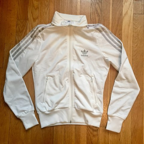 abfb66306 Adidas Originals track jacket. White with silver stripes and - Depop