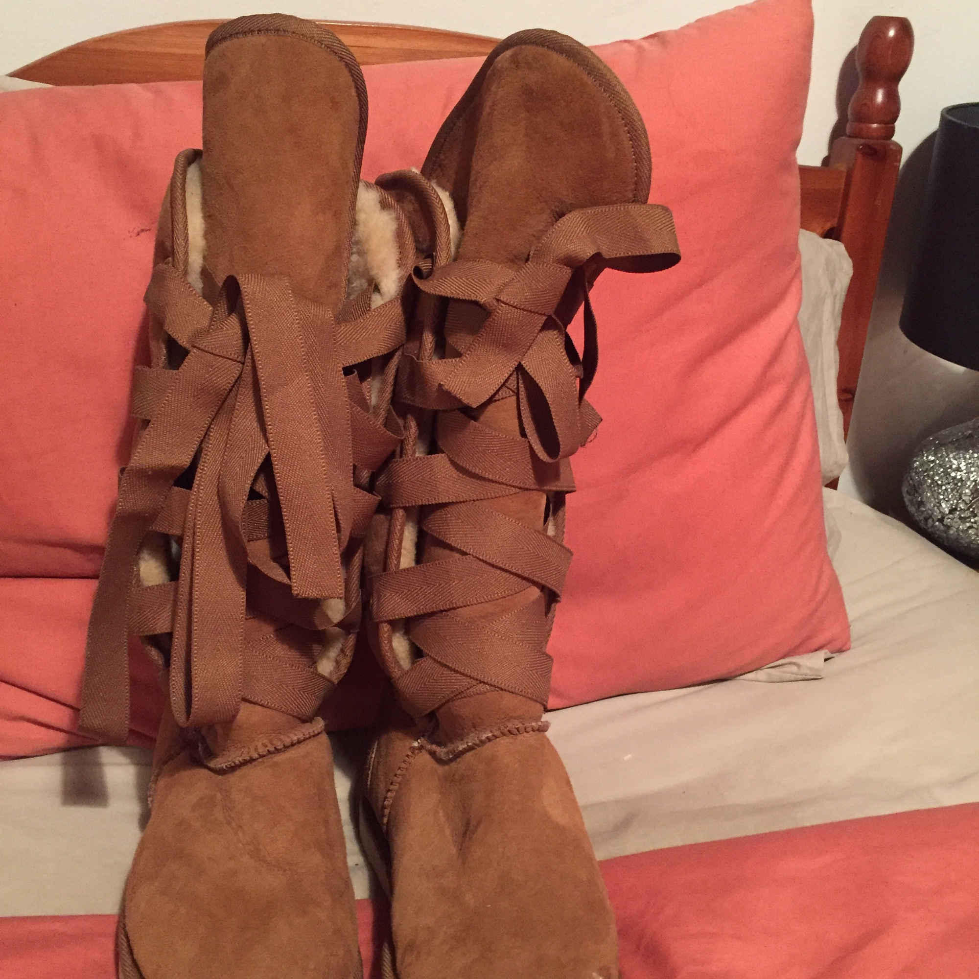 Tan suede lace up front detail Ugg