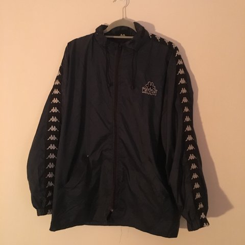ae598b2db Vintage Kappa Windbreaker/Rain Jacket. Dark navy with black - Depop