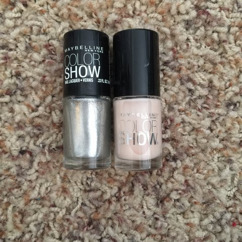 Maybelline Color Show Nail Polishes Metallic Silver and Nude - Depop
