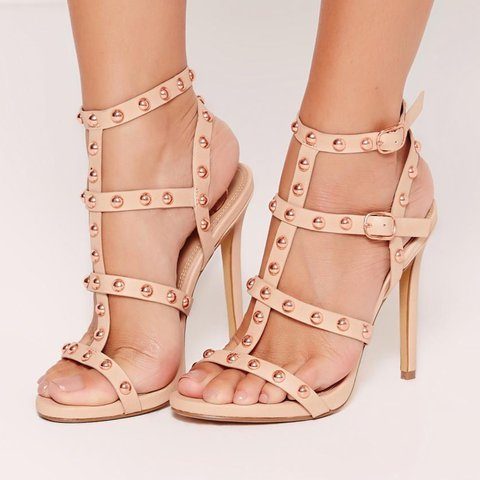 4cd6887bf5cc15 Missguided Rose Gold Dome Studded Gladiator Sandals