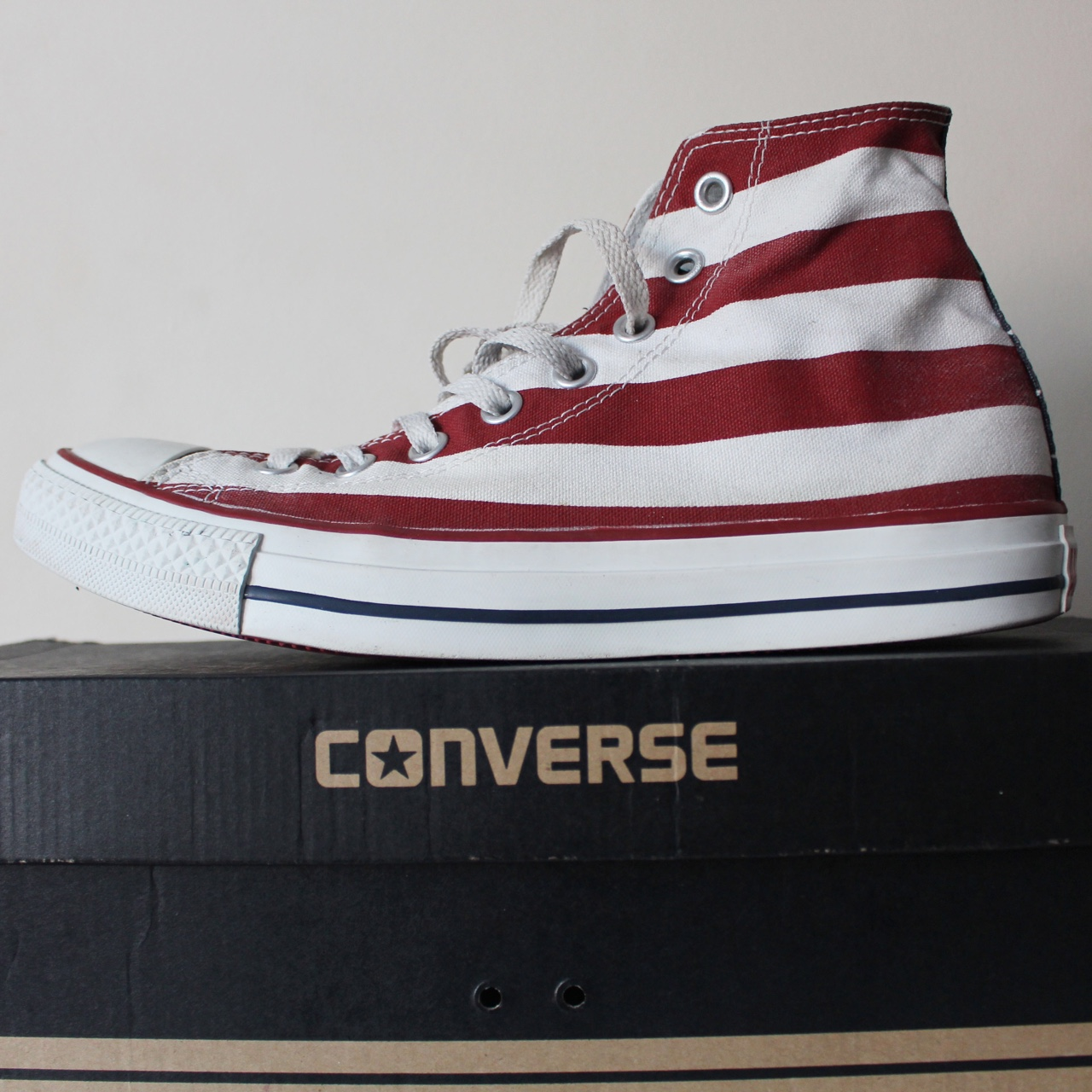 Converse All Stars red, white and blue American flag Depop
