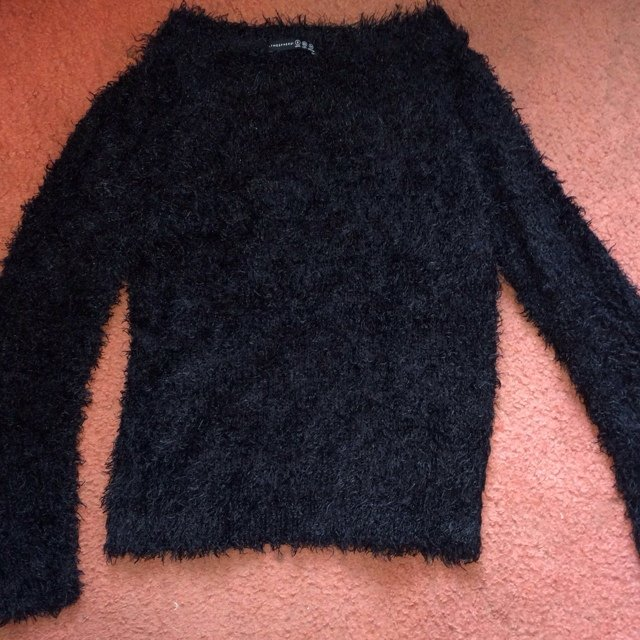 Primark black fluffy jumper size 8 perfect condition. P&p £3 - Depop