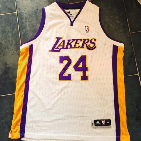 b08e586e2a5c Adidas   Lakers Basketball Jersey   Mark On The Front - in   - Depop