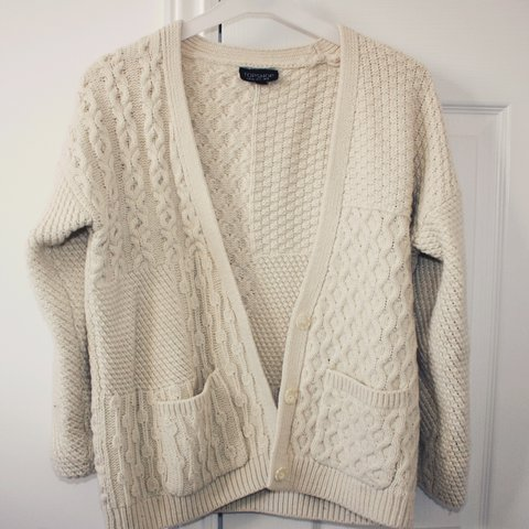 4586fcc8c4 Topshop size 8 chunky cable knit cardigan. Cream colour. So - Depop