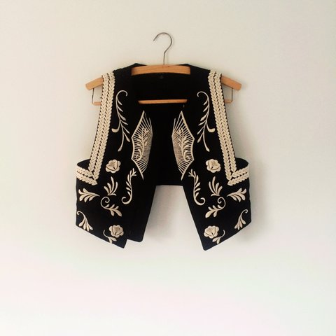 3fa76ebe5ff7 Nasty gal embroidered waistcoat shrug gilet black with cream - Depop