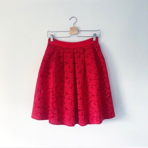 c531835c2 Sandro red skirt in deep red lace full vintage 1950s look to - Depop