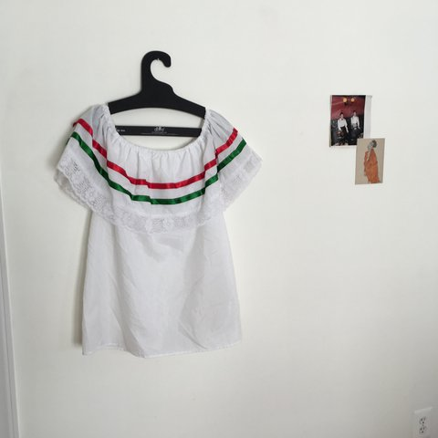 d866981c589ce Thrifted off the shoulder Mexican style top. I think this of - Depop