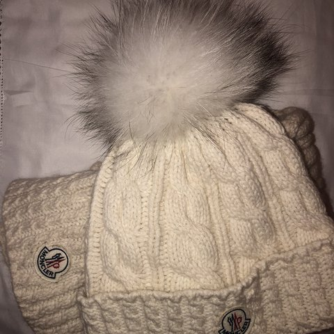 1b1d2b91ae7 Authentic Moncler hat and scarf - cream (makeup on the of - Depop