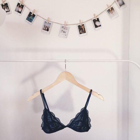 f299f408bd8a99 Navy blue triangle lace bralette. Brand new. Super cute and - Depop