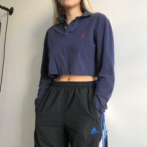 431cccc81968b1 🌹🌹 Vintage Polo Ralph Lauren Navy long sleeve polo cropped - Depop