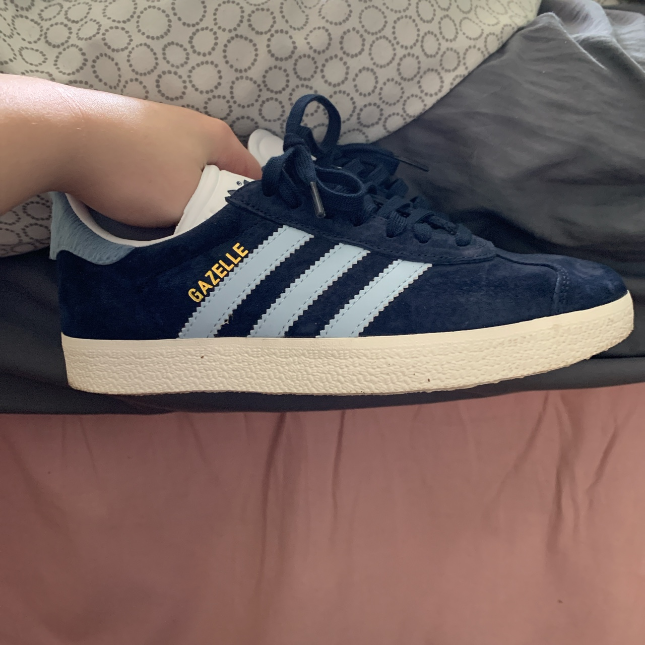 Adidas gazelle size 4 navy and light blue with a...