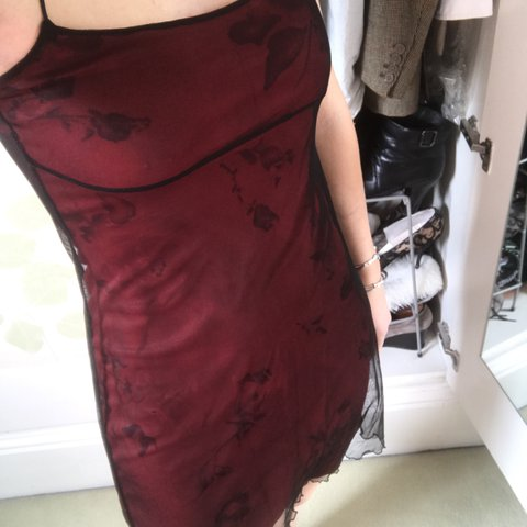 c9c263d8d07d Beaut red double layered slip dress. Sheer and silk type for - Depop