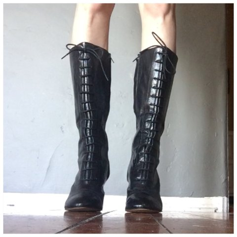 cd1db00bdf4 Nine West Waterfall black leather boots. Size 8. Functional - Depop