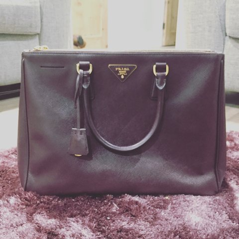 18913b30bf1145 Prada saffiano medium tote bag in the colour Bordeaux. Comes - Depop