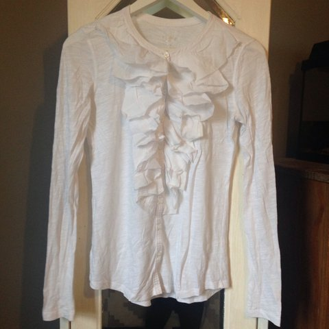 23092e2de @buymeman. 4 years ago. Arbroath, Angus, UK. Ann Taylor LOFT white long  sleeve top with button up ruffle ...