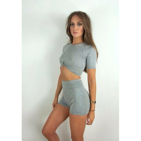d84a4930995 ✨The Sophia Top✨ This light grey marl crop top features a so - Depop