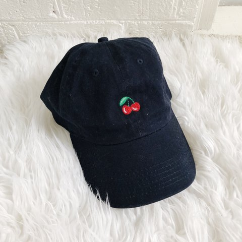94ab9ee859d Brandy Melville cherry hat. Hat is a dark navy. New and - Depop