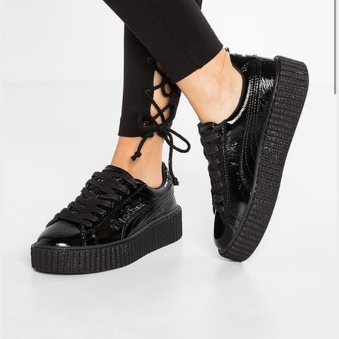 buy popular c969d 817f8 @carajayneharris. 2 years ago. Sutton Coldfield, UK. Rihanna fenty black  cracked leather creepers.