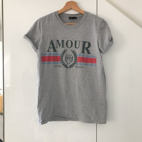 8b59c7b95 @kxty. 6 months ago. London, United Kingdom. Topshop grey amour slogan t  shirt ...