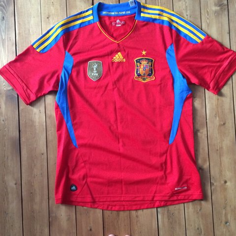 2546b054f Spain World Champions home jersey. Mens Large with no print. - Depop