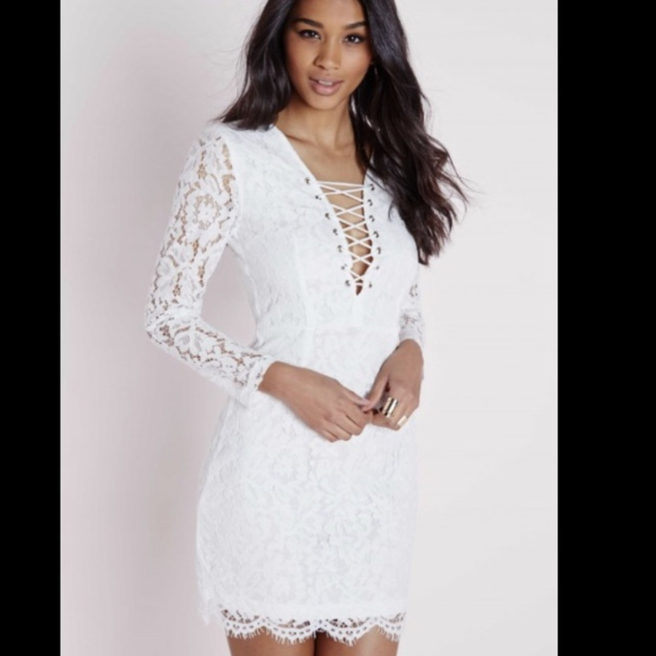 ff1b526e19 Missguided lace long sleeve dress with under layer Worn Size - Depop