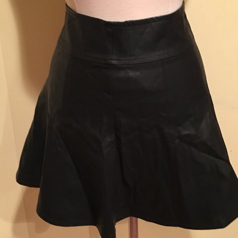 cf744f7807ed08 FOREVER 21 - BLACK - FAUX LEATHER - SKATER SKIRT - - Depop
