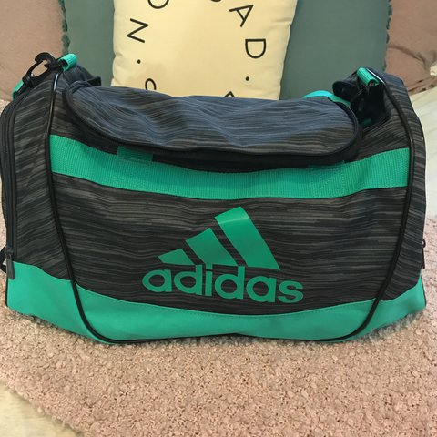 709172b9fa @leannejoyyy. last year. Sterling Heights, United States. teal and grey  adidas gym bag spacious interior (can fit ...
