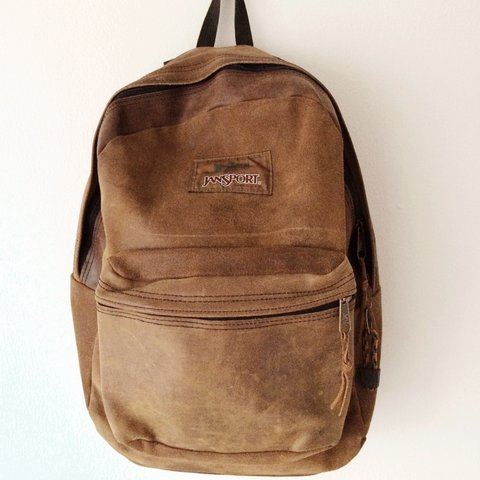 reputable site 8371c a0e68 Vintage leather Jansport backpack- 0