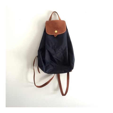 0a28f7709915 small navy blue le pliage backpack by longchamp