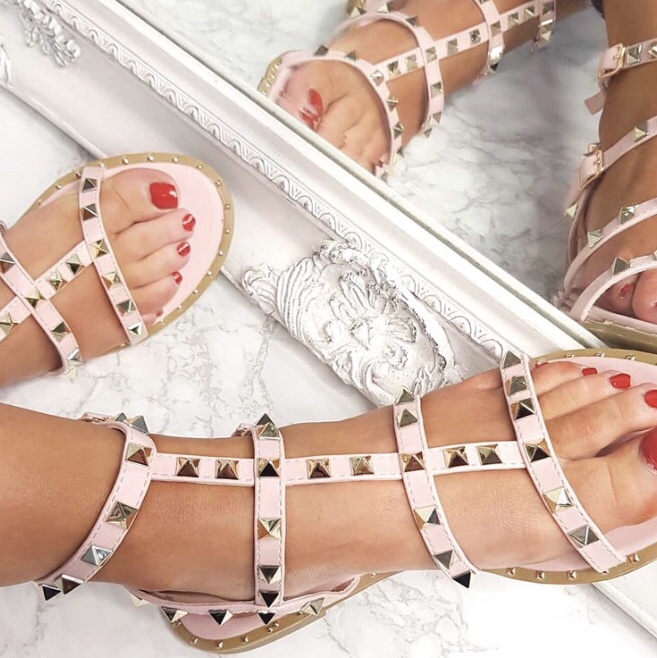 Pink studded Valentino style sandals