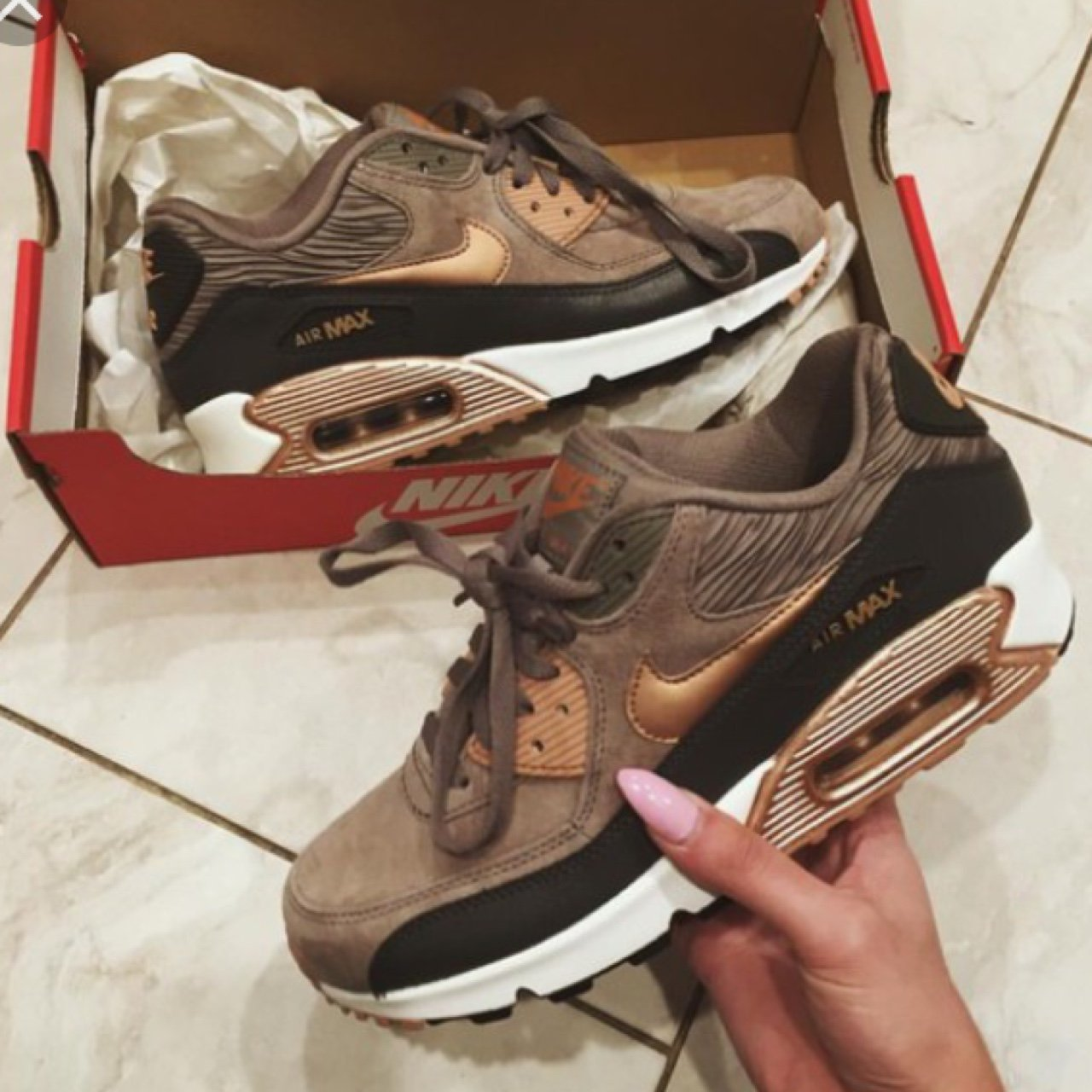 uk availability dce64 847f0 Nike air max 90 iron   red bronze   rose gold leather and . - Depop