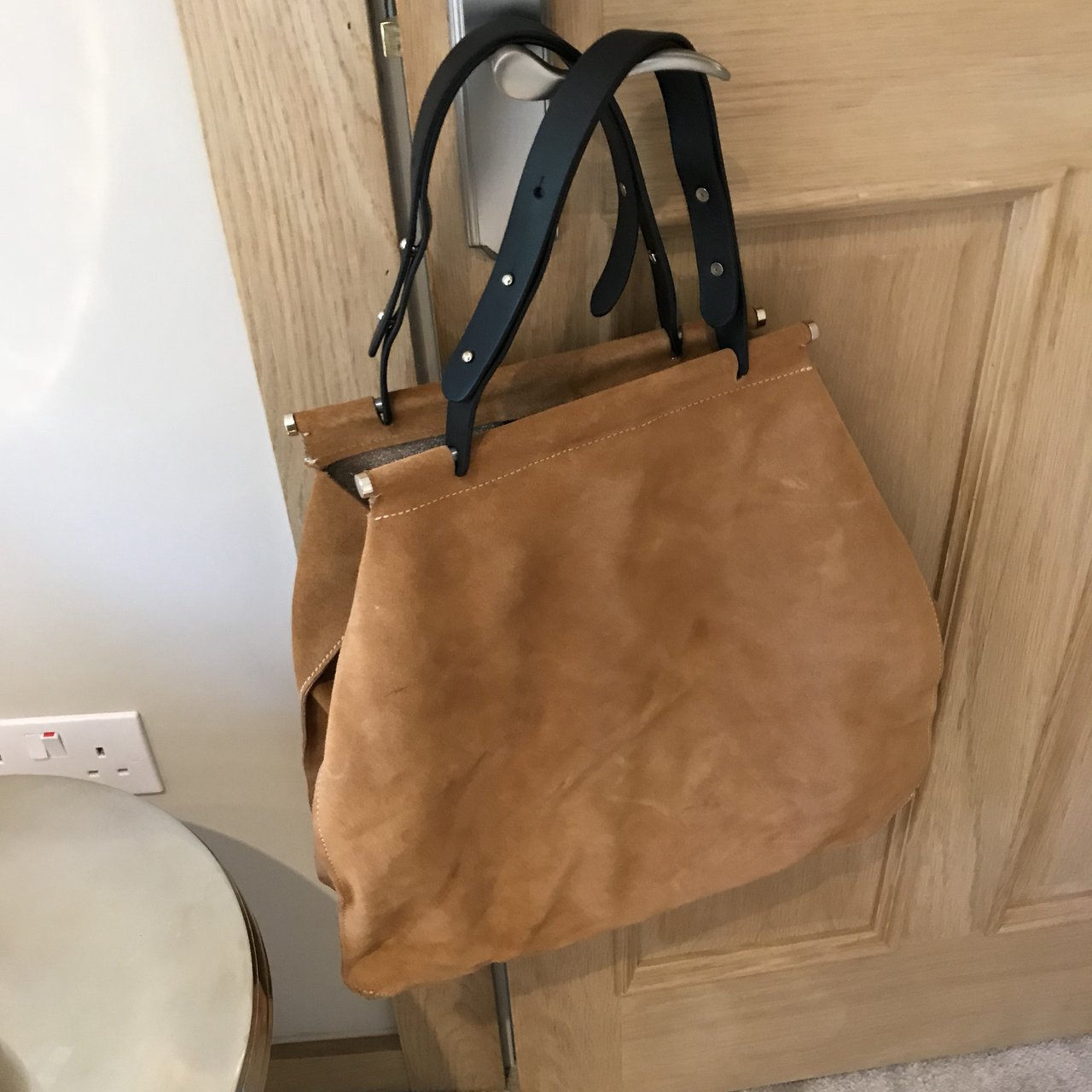 1b13607fc9e5 Zara Tan Brown Suede Tote Bag. With leather stud handles and - Depop