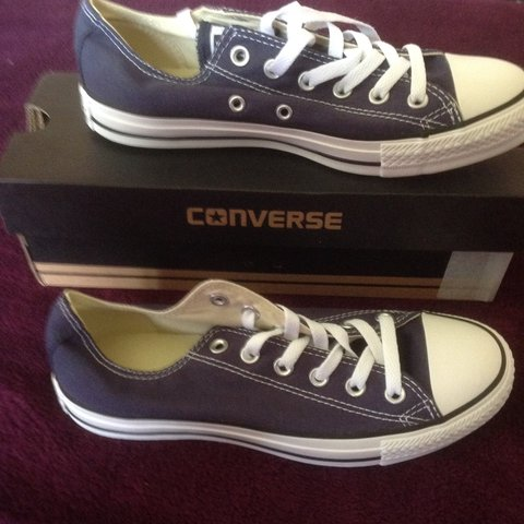 Size 6 navy converses. Brand new with box. Price includes - Depop d80e0ce31