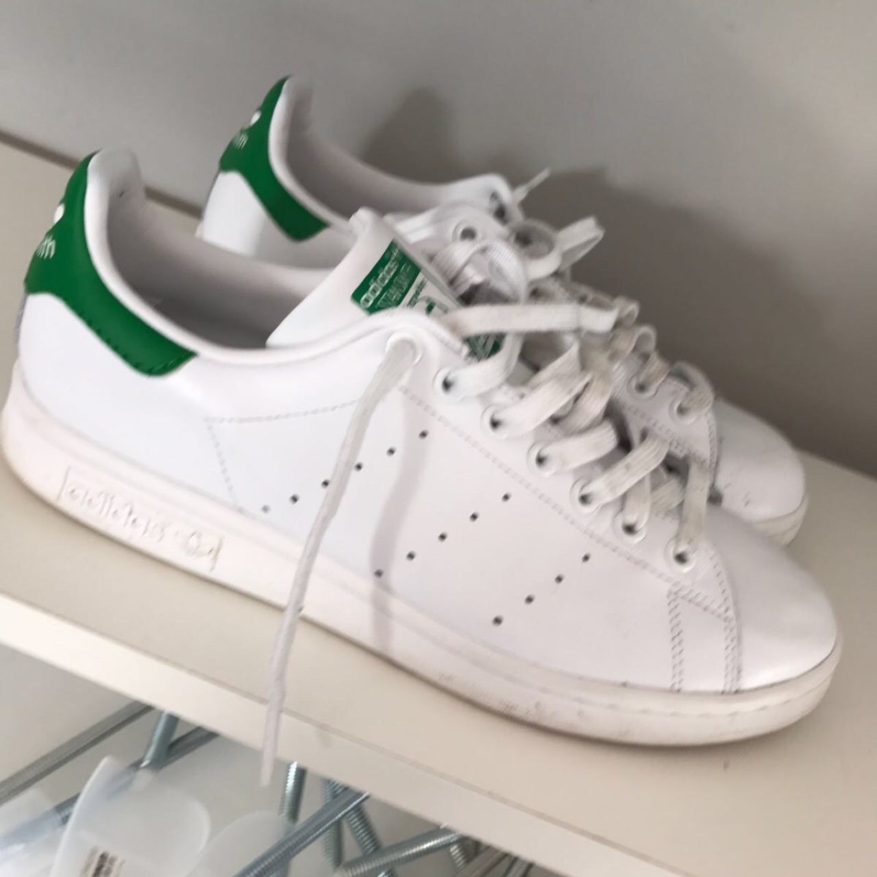 huge discount 5e1f5 8b647 Adidas green stan smith office urban outfitters... - Depop
