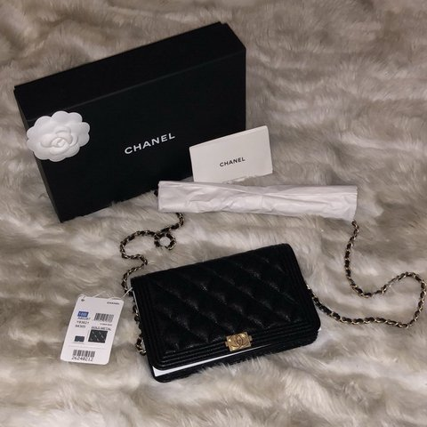 cd25fee826bb Chanel Caviar Quilted Boy Wallet on Chain This brand new on - Depop