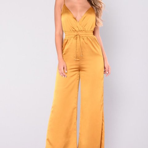 b5aa9c8f601 Mustard yellow satin jumpsuit with wide leg from Fashion w  - Depop