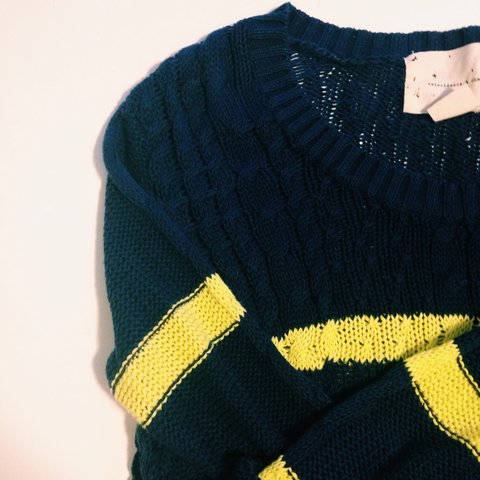 Urban Outfitters Navy Blue And Yellow Striped Sweater Its Depop