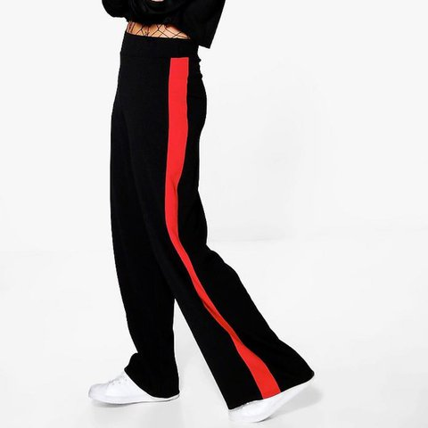 e49eb032de1c @lucyhennessy. 2 years ago. Maidstone, United Kingdom. BooHoo wide leg  trousers with red side stripe. Brand new with tags
