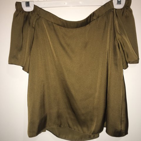 711fc737dbbf6f Silky satin khaki green Bardot top. So lovely and got so 8